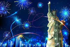 Statue of Liberty on Firework background. Illustration of Statue of Liberty on firework background Royalty Free Stock Photos