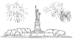 Statue of Liberty with Firework Illustration. Hand drawn Vector Outline Artwork Royalty Free Stock Image