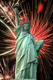 Statue of Liberty and fireworks Stock Images