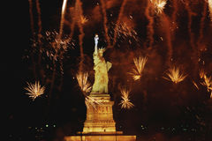 Statue of Liberty with fireworks Royalty Free Stock Photos