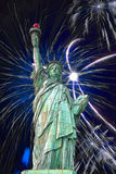 Statue of Liberty and fireworks. In black sky Royalty Free Stock Photos