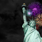 Statue of Liberty fireworks Royalty Free Stock Image