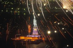 Statue of Liberty with Fireworks at Night, New York City, New York Royalty Free Stock Photo