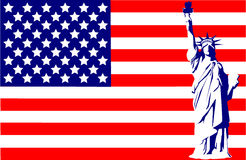 Statue of Liberty on the flag  Stock Photos