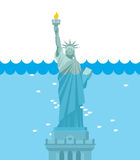 Statue of Liberty flood. USA attraction underwater. American sym Royalty Free Stock Image