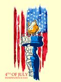 Statue of Liberty on Fourth of July background for Happy Independence Day of America Royalty Free Stock Photos