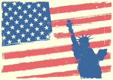 Statue of Liberty in front of Stars and Stripes. Detailed illustration of the Statue of Liberty in front of a grungy stars and stripes backbround Royalty Free Stock Photography