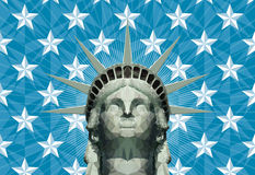 Statue of liberty in geometric triangles. Stylized statue of liberty head, made of manually placed, triangular shapes in many color shades with a separate Royalty Free Stock Photos