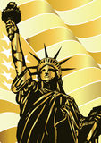 Statue of Liberty and golden american flag - vector. Statue of Liberty- landmark and symbol of Freedom and Democracy Stock Illustration