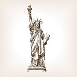 Statue of Liberty hand drawn sketch style vector Royalty Free Stock Images