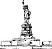 Statue of Liberty hand drawn sketches Royalty Free Stock Image