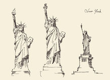 Statue of Liberty hand drawn vintage engraved illustration Stock Photo