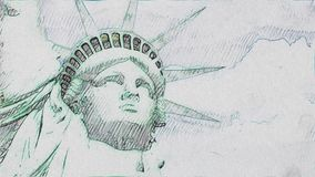 Statue of Liberty hand made pen drawing stop motion cartoon seamless loop animation background - new quality national