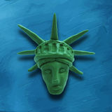 Statue of Liberty. Head of Statue of Liberty on blue background, for 4 July American Independence Day and other events. Vector illustration. Plasticine modeling Stock Photography