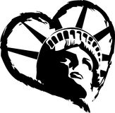 Statue of Liberty Heart. Vector Drawing of Statue of Liberty in Heart Vector Illustration