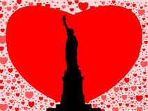 Statue of Liberty with hearts Stock Photo