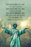 Statue of Liberty with her arms spread out. stock image