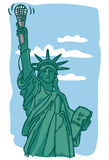 Statue of Liberty holding microphone. Illustration of Statue of Liberty holding microphone instead of torch against blue sky with clouds Stock Images