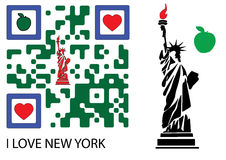 Statue of liberty and I love new york QR code. The statue of liberty and a qr code with the text embedded: I LOVE NEW YORK Stock Photos