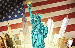 Statue of Liberty - Illustration. Statue of Liberty with manhattan and american flag backdrop Royalty Free Stock Photos