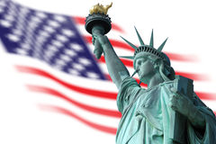 Statue of Liberty on Island in New York with flag Stock Photo