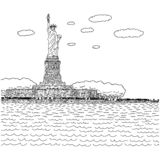 Statue of liberty on island in nyc harbor vector illustration sketch doodle hand drawn with black lines isolated on white royalty free stock photo
