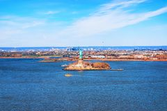 Statue on Liberty Island. New York City, USA. In Upper New York Bay royalty free stock image