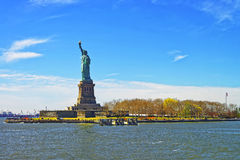Statue on Liberty Island in Upper Bay Royalty Free Stock Images