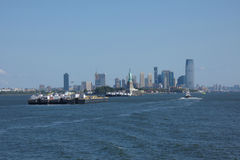 Statue of Liberty and the Jersey City Skyline royalty free stock photography