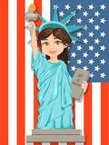 Statue of Liberty. July 4th. Independence Day. Cute cartoon stylized character with USA flag on background. Stock Photography