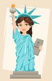 Statue of Liberty. July 4th. Independence Day. Cute cartoon stylized character. Royalty Free Stock Photography