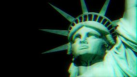 Statue of Liberty on jumpy glitch old lcd led computer screen display seamless loop animation black background - new stock video footage