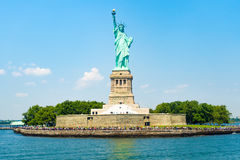 The Statue of Liberty at Liberty Island in New York. City on a beautiful summer day royalty free stock photos