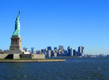 Statue of Liberty and lower Manhattan Stock Image