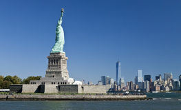 The Statue of Liberty and Manhattan Stock Image