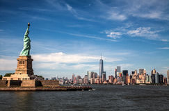Statue of Liberty and Manhattan skyline, New York. New York City as seen from the Hudson River Stock Photo