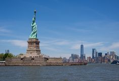 Statue of Liberty and Manhattan Skyline, New York, United States. Statue of Liberty and Manhattan Skyline from Statue Cruise, New York, United States Royalty Free Stock Photo