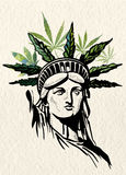 Statue of Liberty marijuana leafs vector image Stock Images