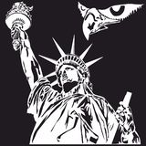 Statue of Liberty, Monochrome graphic design for Shirt, Badge, Logo. royalty free stock photos