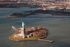 Statue of Liberty National Monument from Helicopter Royalty Free Stock Photography