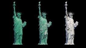 Statue of liberty. new and old view. rotate animation. alpha matte stock footage