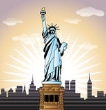 Statue of Liberty in New York. Landscape with Statue of Liberty in New York illustration in original style stock illustration