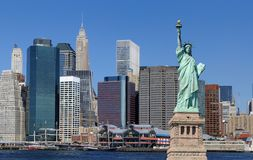 Statue of Liberty and New York City Royalty Free Stock Photos