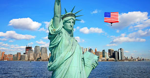 The Statue of Liberty and New York City Stock Photo
