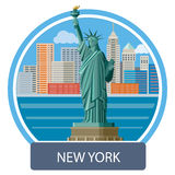 Statue of Liberty, New York City. New york cityscape. Manhattan Skyline and Statue of Liberty, New York City. Poster concept in cartoon style with text Stock Photography