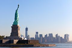 The Statue of Liberty and New York City stock photography