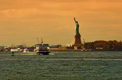 Statue of Liberty, New York City. Statue of Liberty in New York City at sunset Stock Photos