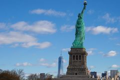 Statue of Liberty with New York Skyline stock image