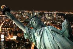 Statue of Liberty and nighttime New York Royalty Free Stock Photography