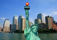 The Statue of Liberty and NYC skyline Stock Photos